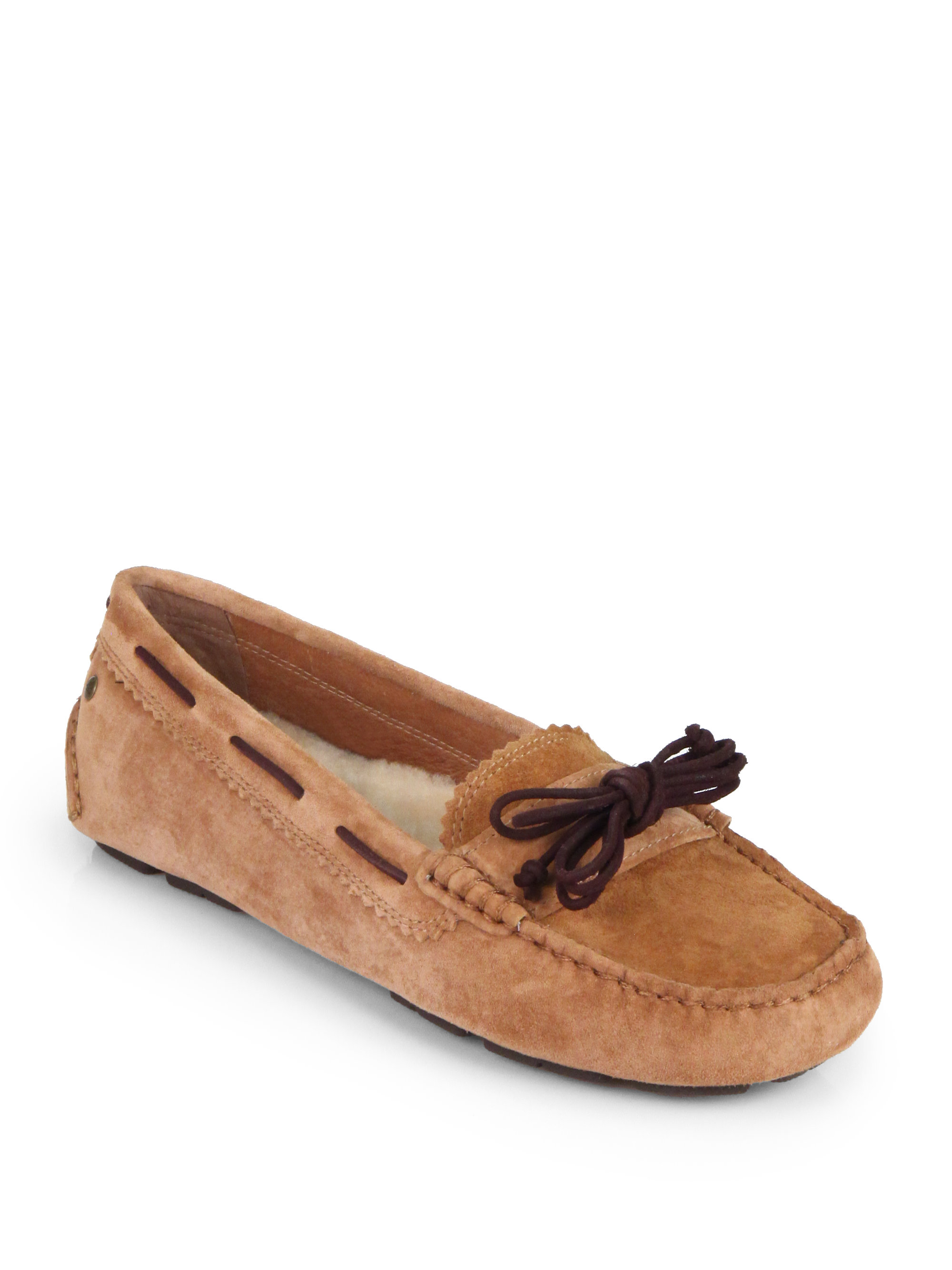 61022d06b0a Lyst - UGG Meena Suede Leather Bow Drivers in Brown
