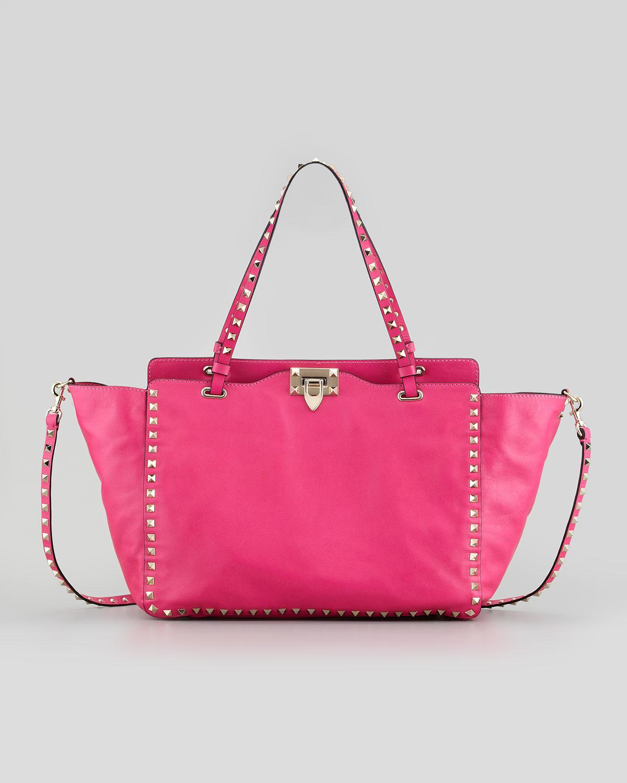 valentino rockstud medium tote bag fuchsia in pink lyst