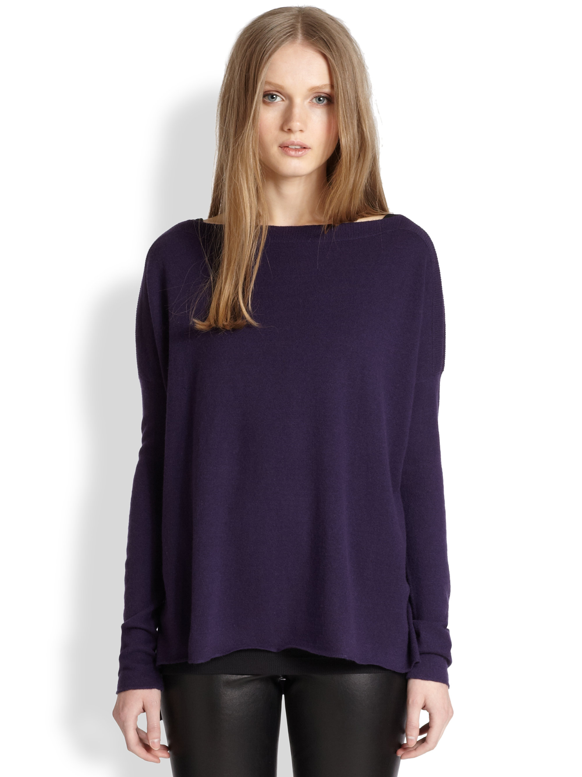 Vince Slouchy Cashmere Sweater in Purple | Lyst