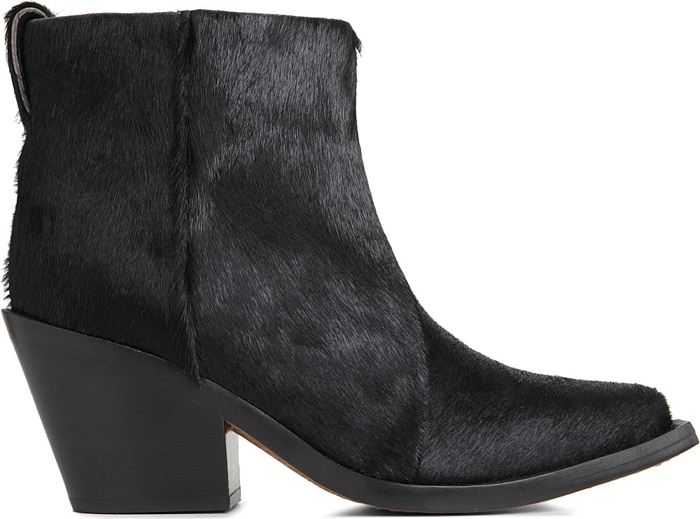 Acne Studios Donna Ponyskin Ankle Boots in Black