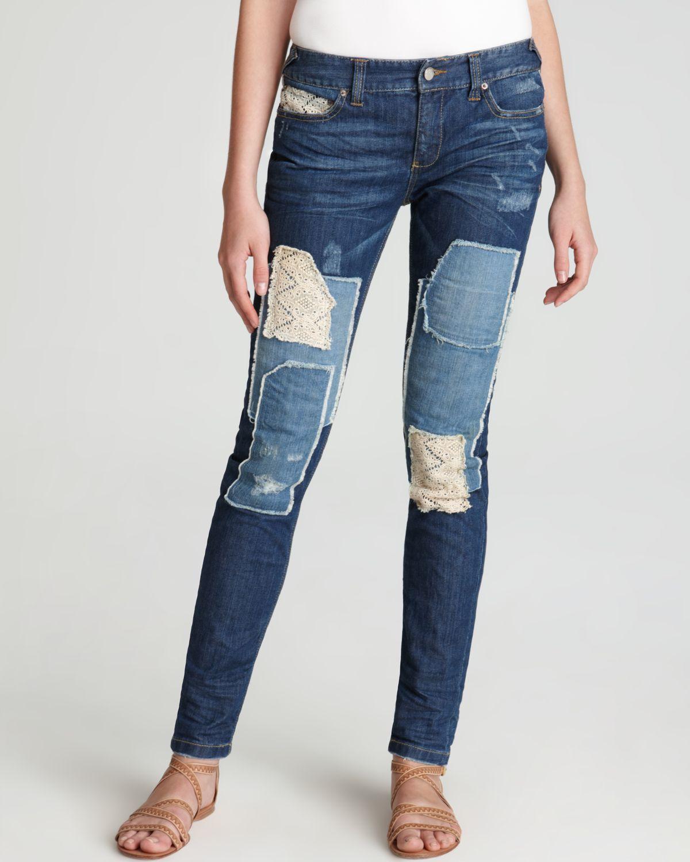 lyst free people jeans crochet patch skinny in hayneswash in blue. Black Bedroom Furniture Sets. Home Design Ideas