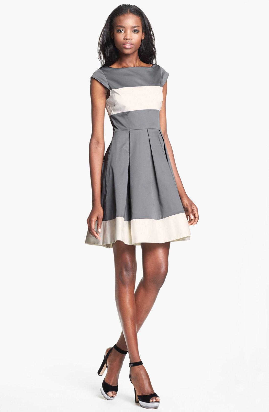 Kate Spade Adette Full Skirt Dress In Gray Dark Grey