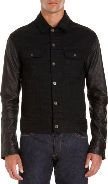 Rag & Bone Leather Sleeve Jean Jacket Black in Blue for Men (denim