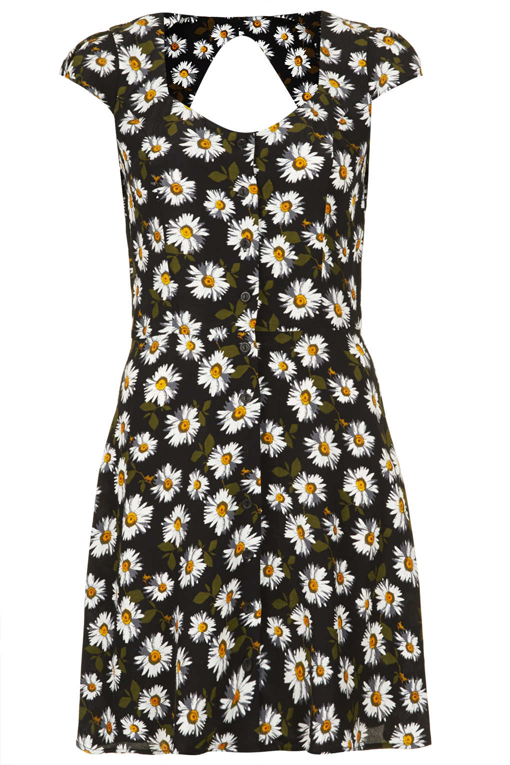 Lyst Topshop Daisy Open Back Tea Dress In Black