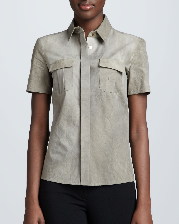 Safari Shirt Cognac Heels: Michael Kors Poplin Safari Shirt In Green (LIMESTONE)