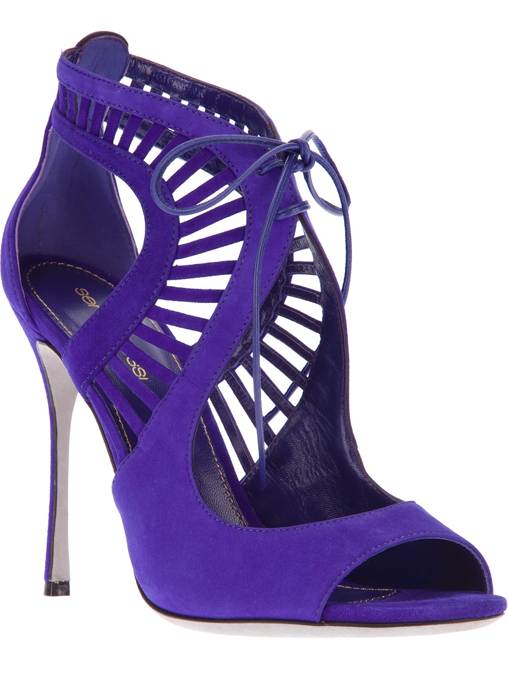 Lyst Sergio Rossi Gated Laceup Sandals In Purple