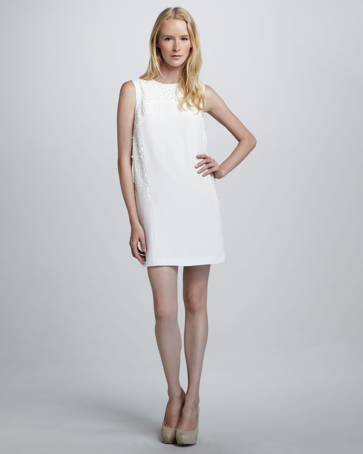 Lyst - Tibi Sleeveless Sequined Cocktail Dress in White