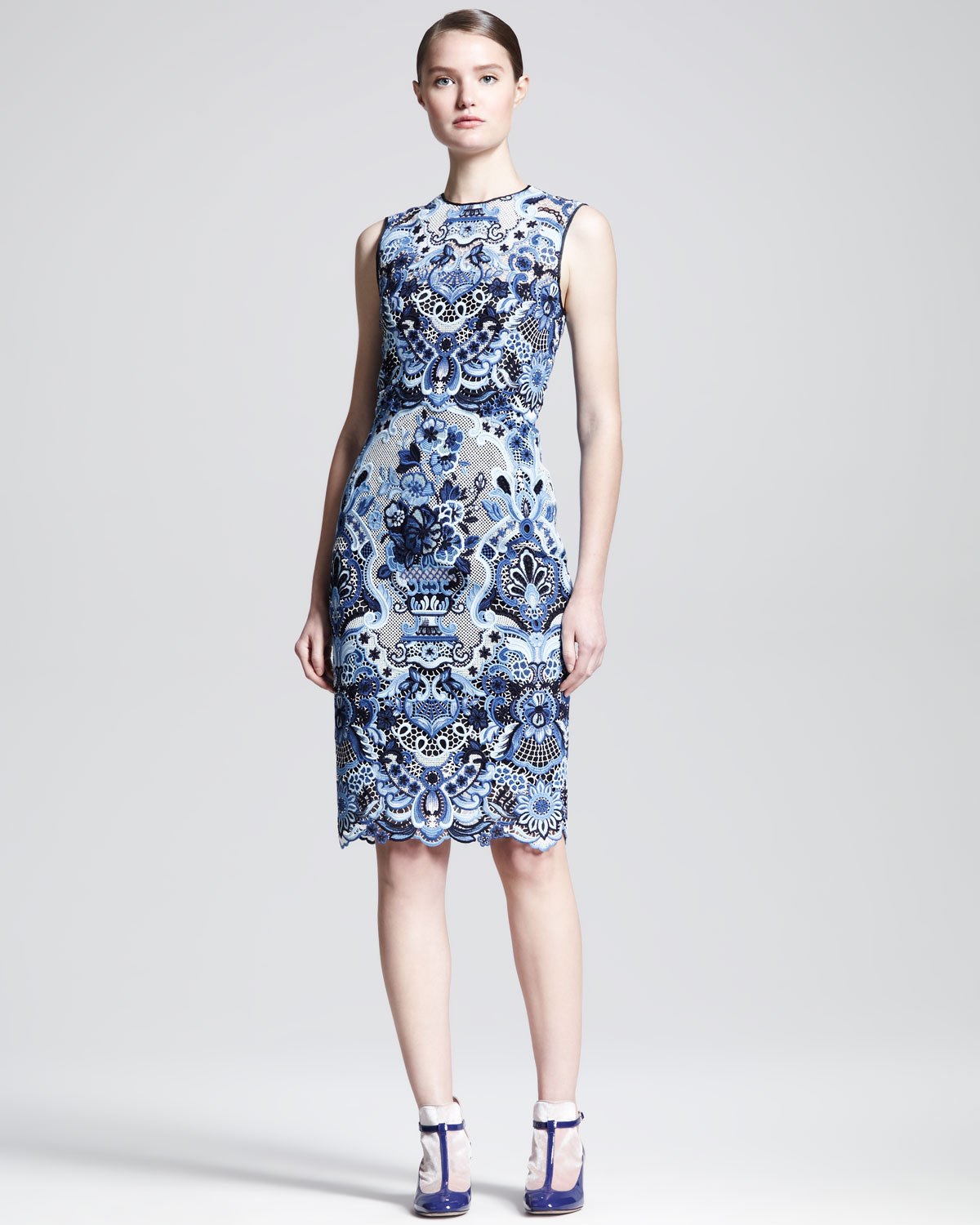 Valentino Sleeveless Ceramic Lace Sheath Dress In Blue Lyst