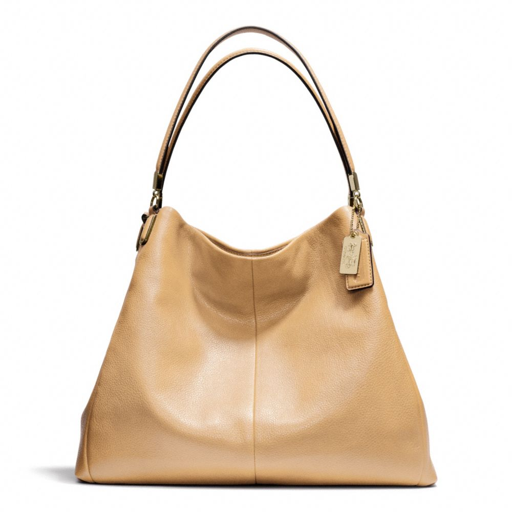 coach madison phoebe shoulder bag in leather in brown lyst
