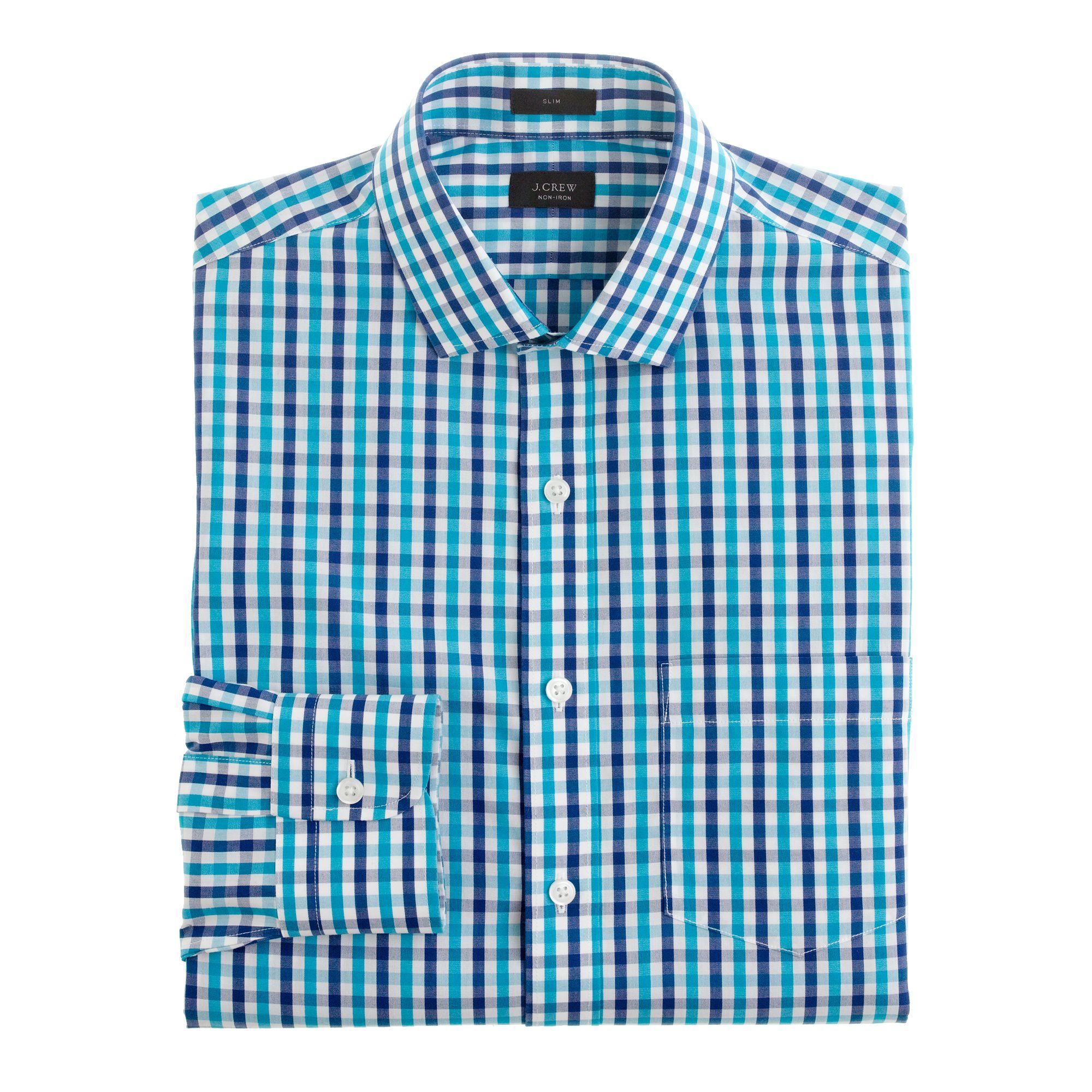 Slim Noniron Dress Shirt In Aqua Check In Blue For