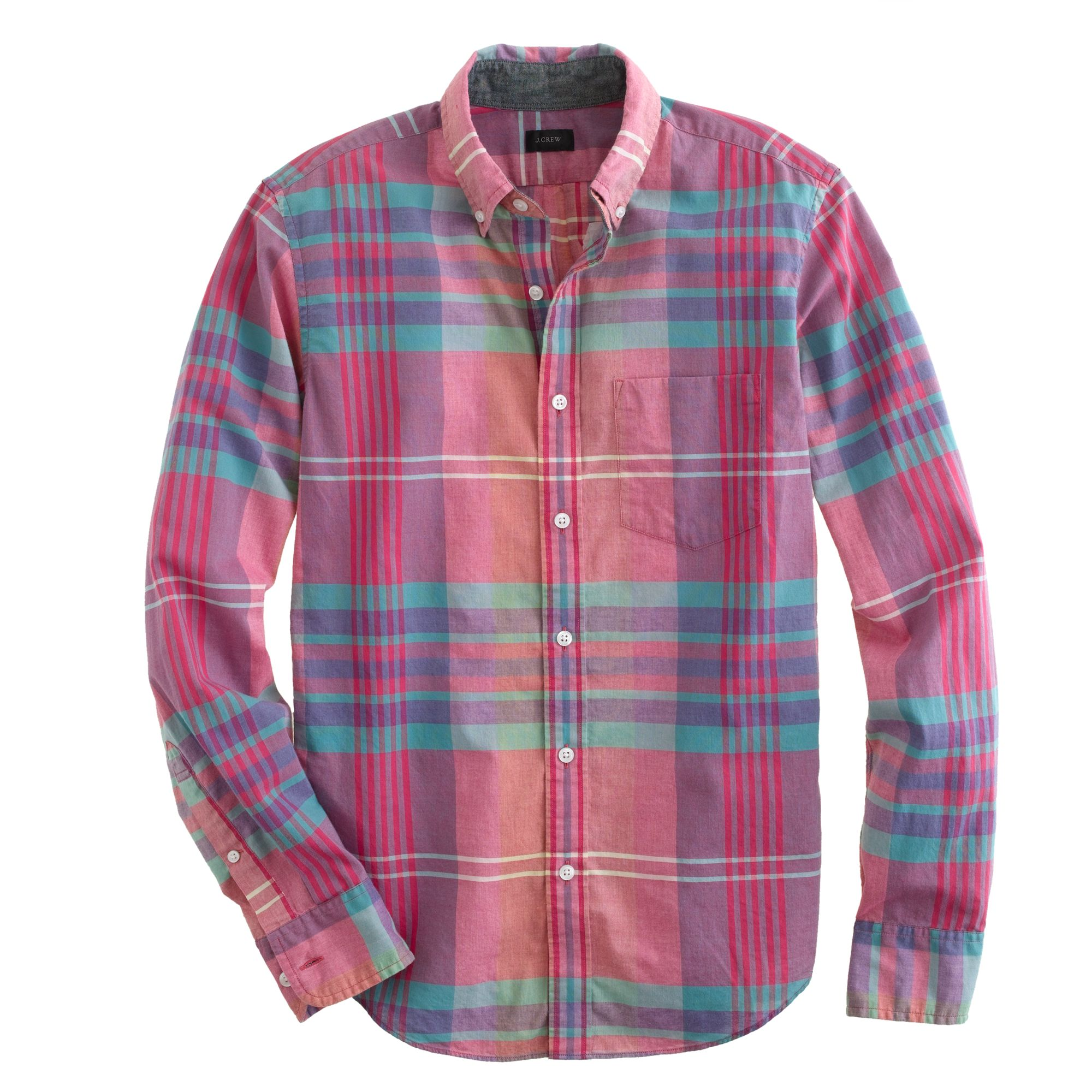 slim indian cotton shirt in flash pink plaid in