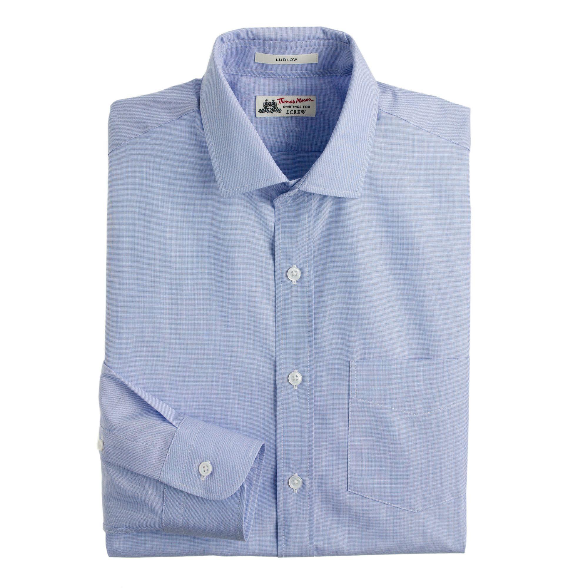 Thomas Mason Ludlow Shirt In Periwinkle In White For Men