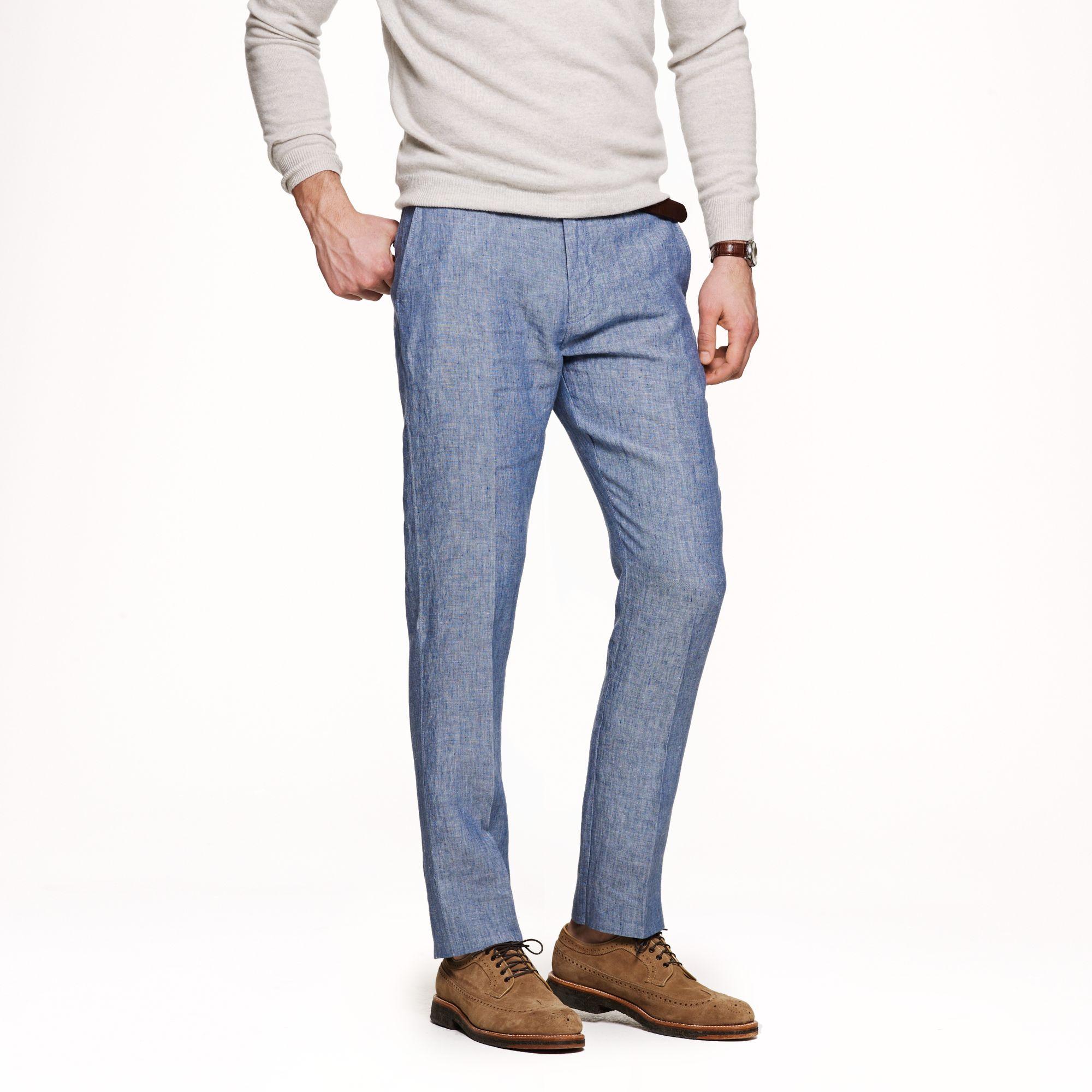 J.crew Bowery Slim Pant in Irish Linen in Blue for Men | Lyst