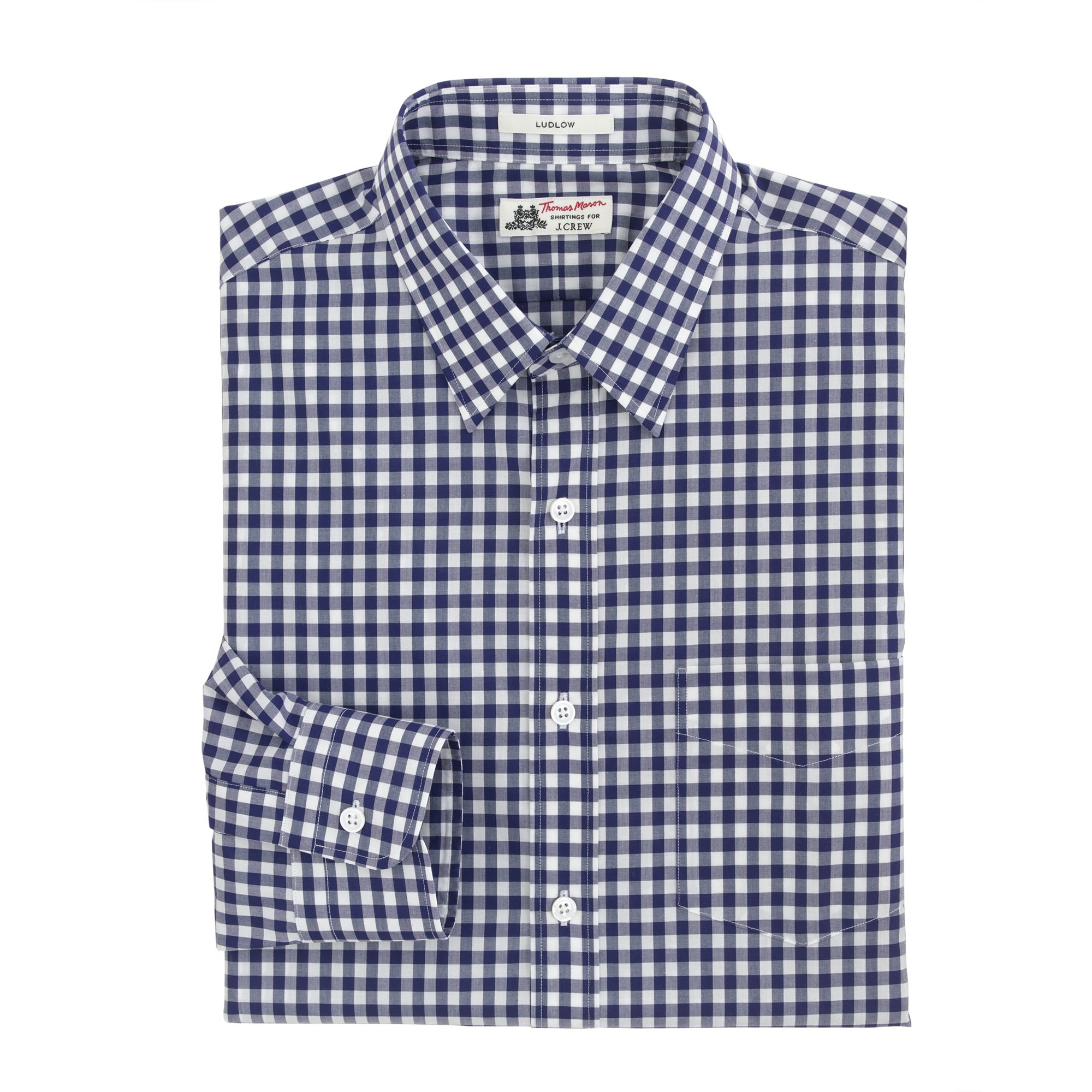 Lyst j crew thomas mason for j crew ludlow shirt in for Navy blue gingham shirt