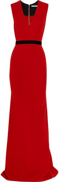 Victoria Beckham Belted Wool and Silkblend Double Crepe Gown in Red