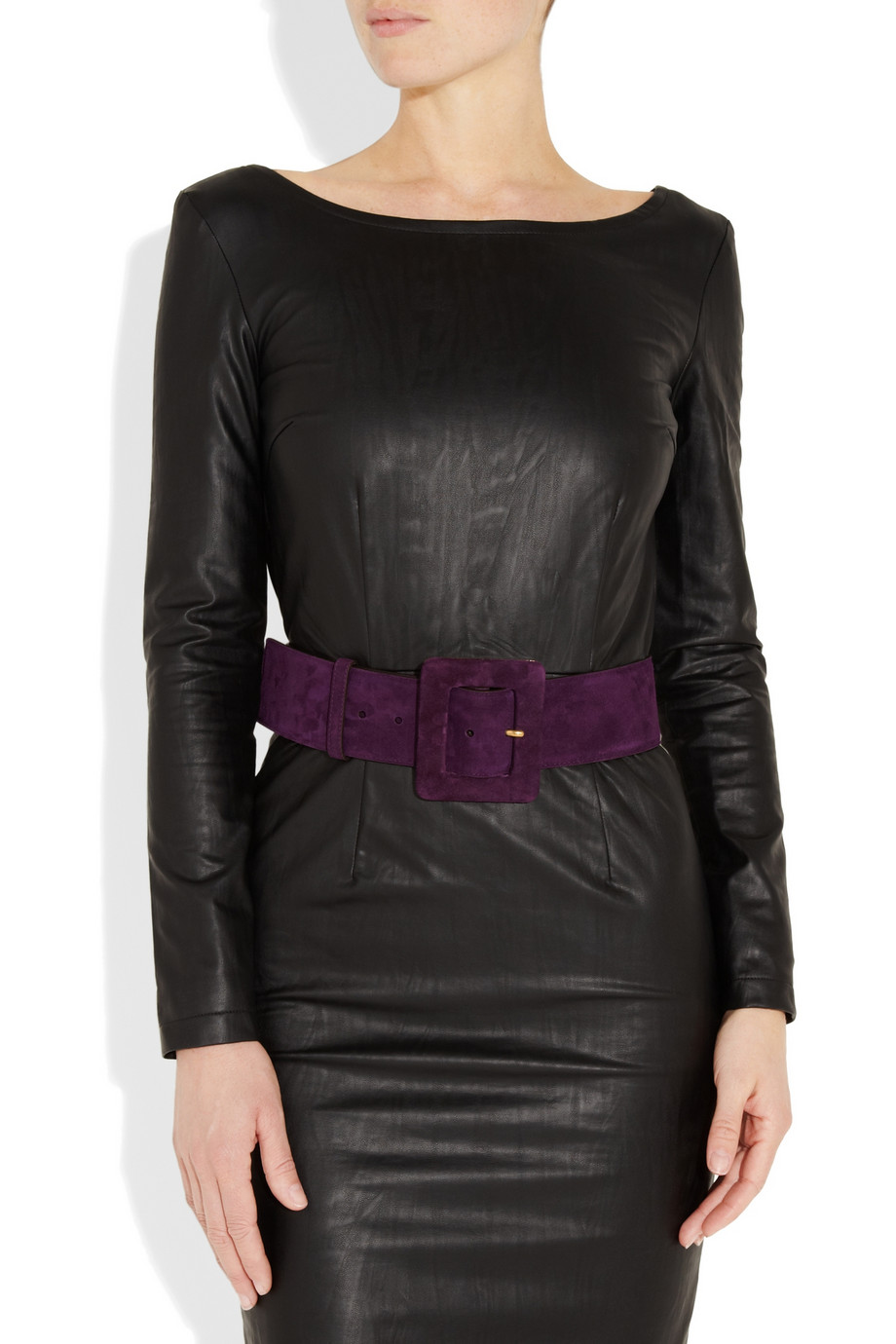 Saint Laurent Suede Waist Belt In Purple Lyst