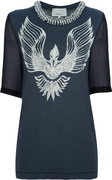 3 1 phillip lim phoenix print tshirt in black lyst for Phoenix t shirt printing