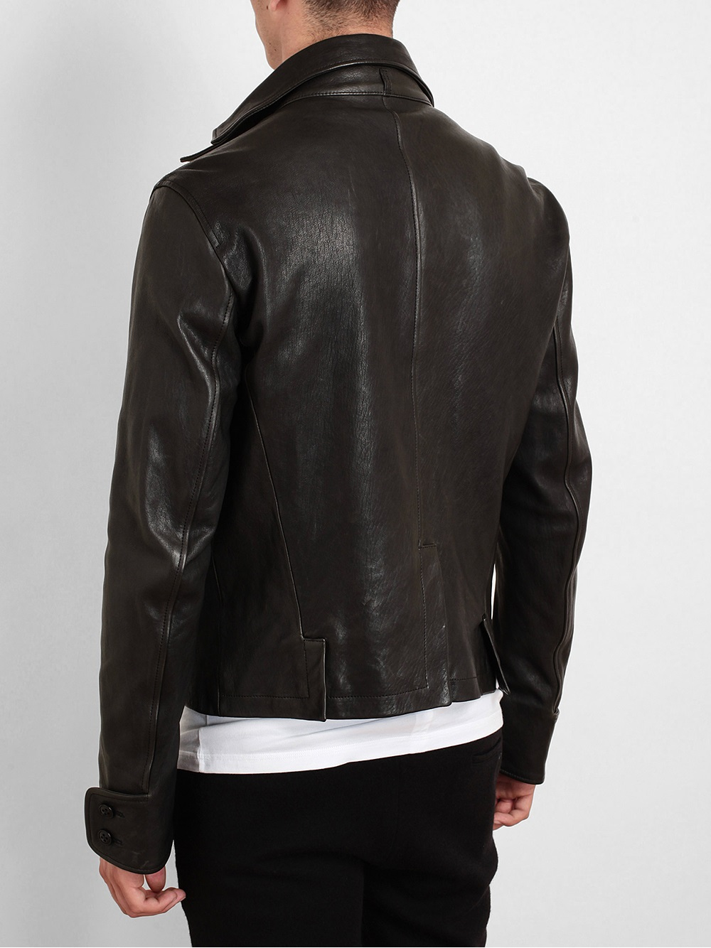 Ann Demeulemeester Distressed Leather Jacket in Black for Men