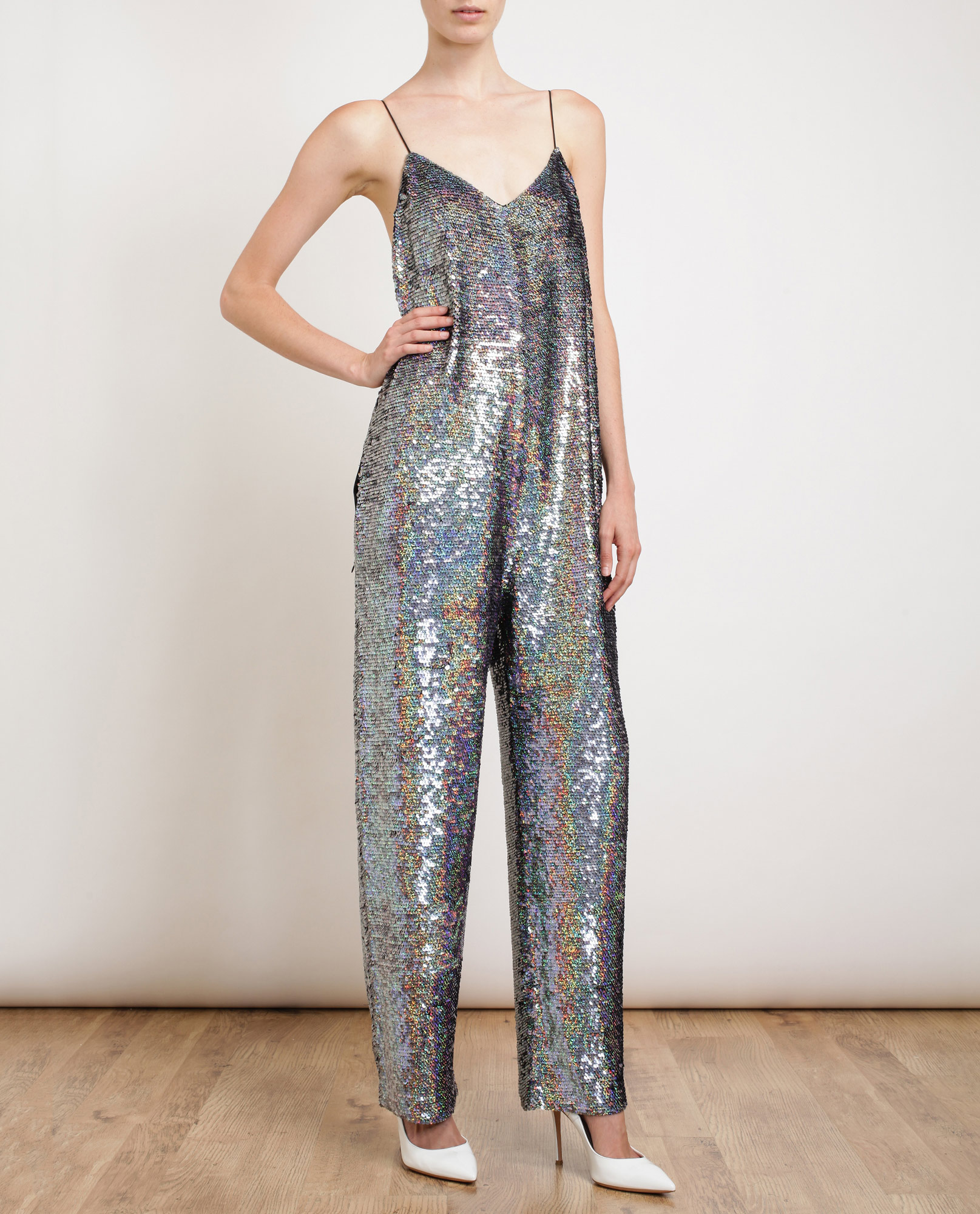 9f8ee173159 Ashish Holographic Sequin Jumpsuit in Silver