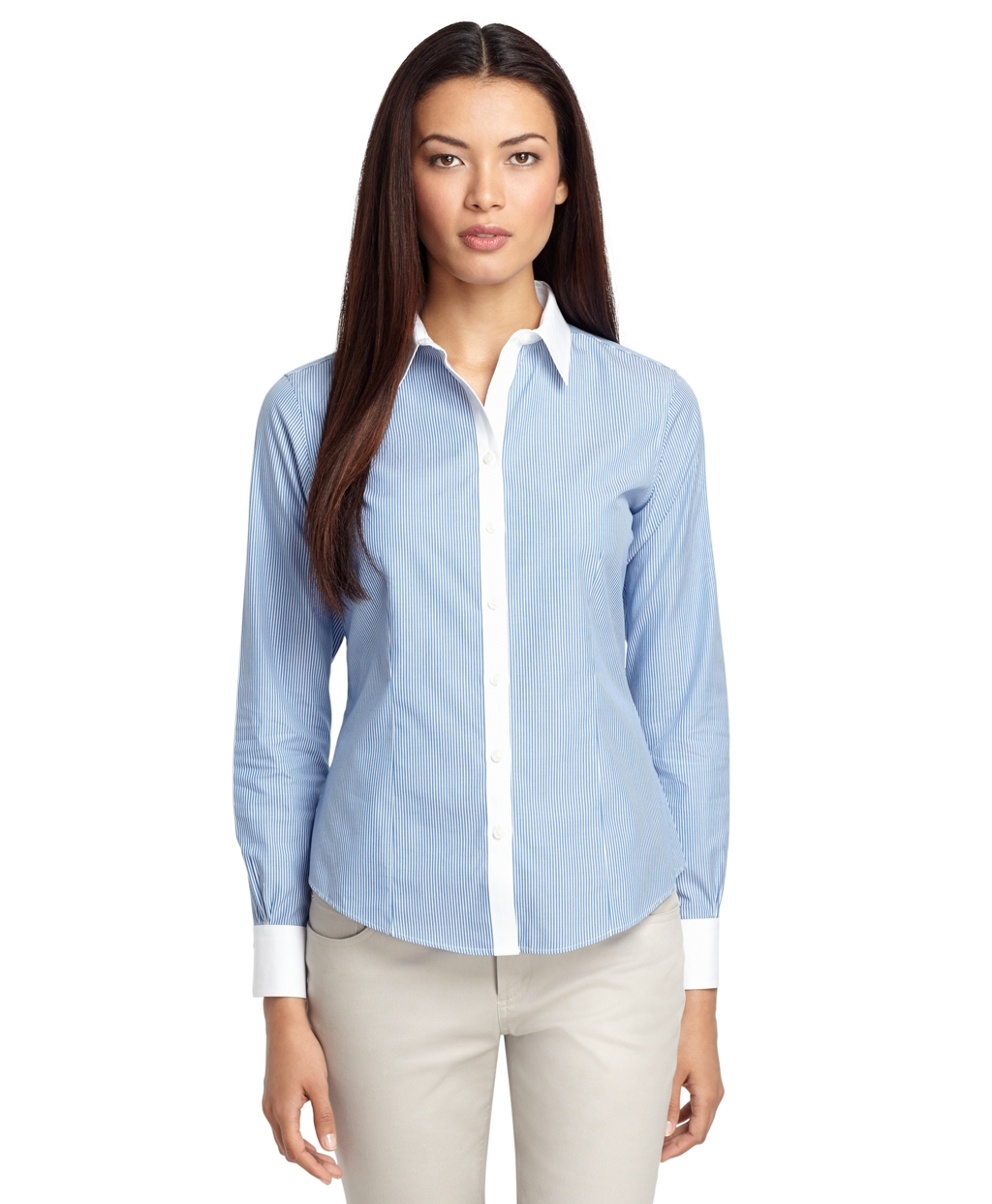 Lyst brooks brothers fitted noniron stripe dress shirt for Non see through white dress shirt