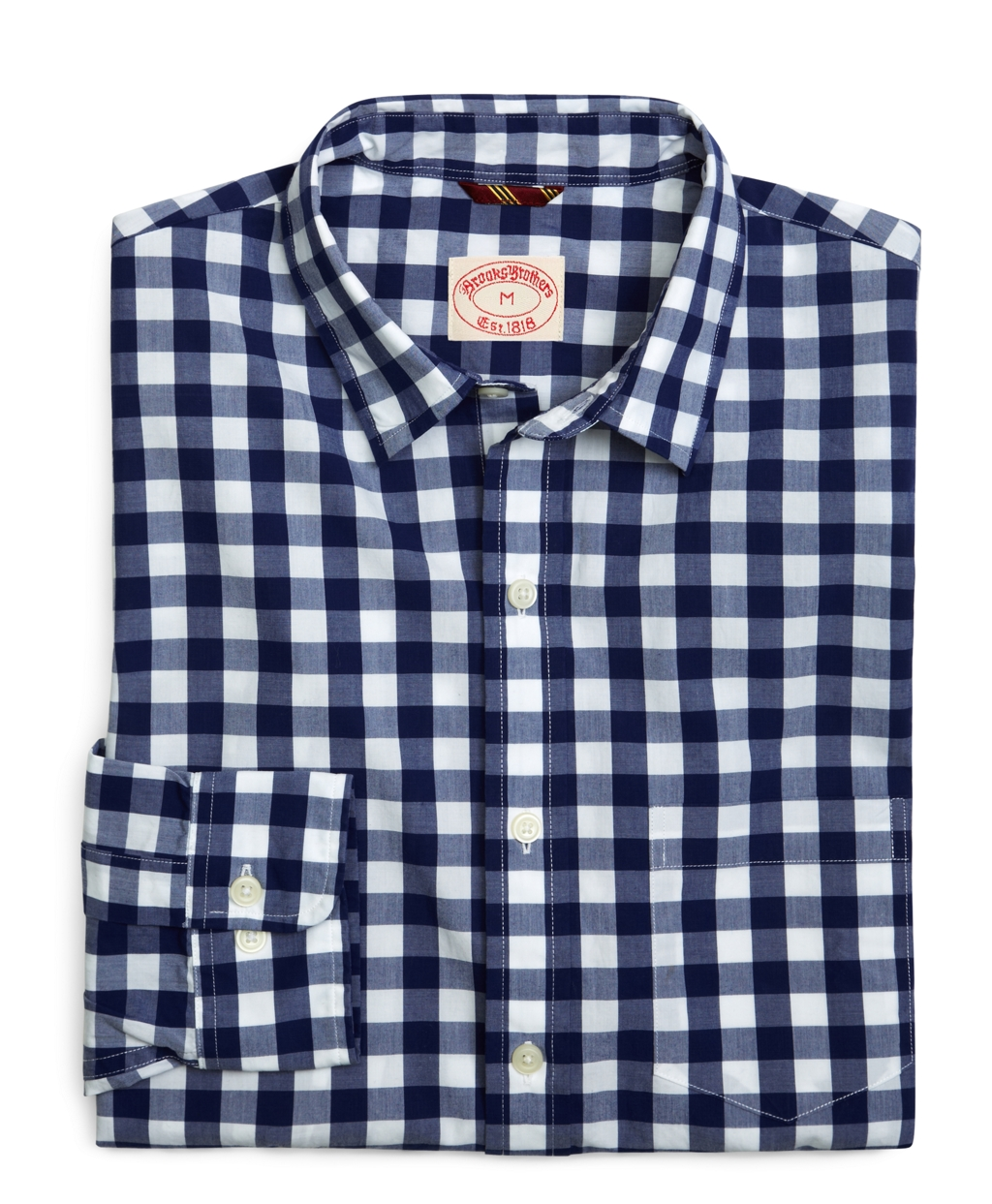 Lyst brooks brothers poplin navy large gingham sport for Navy blue gingham shirt