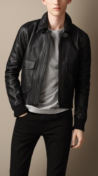 Burberry Grainy Leather Bomber Jacket in Black for Men   Lyst