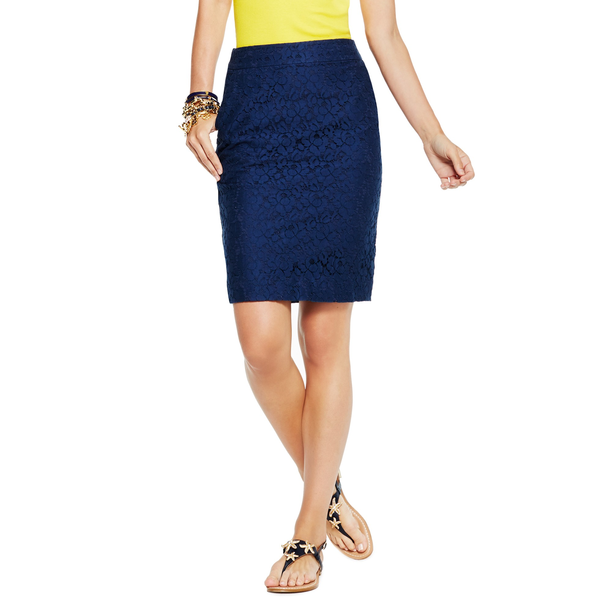c stretch cotton lace pencil skirt in blue navy