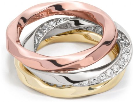 coach twisted stacking rings in gold multicolor lyst