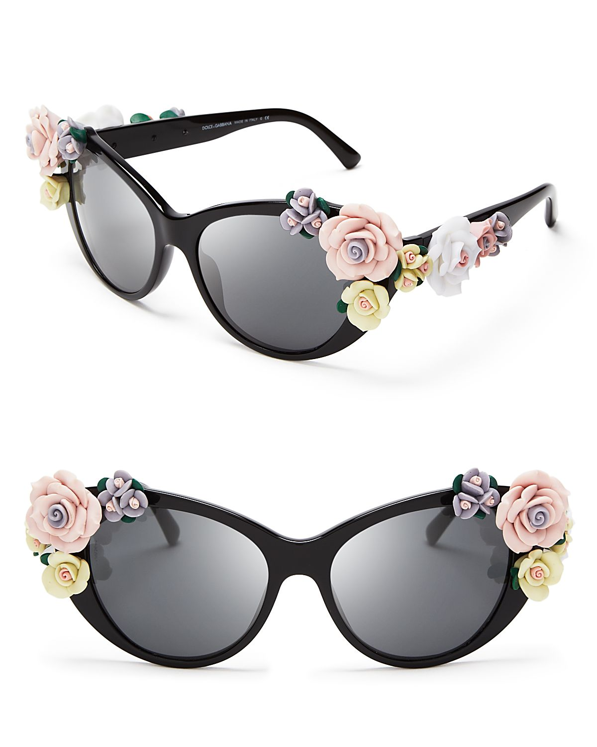 6337ebaad Dolce & Gabbana Oversized Floral Cat Eye Sunglasses in Black - Lyst