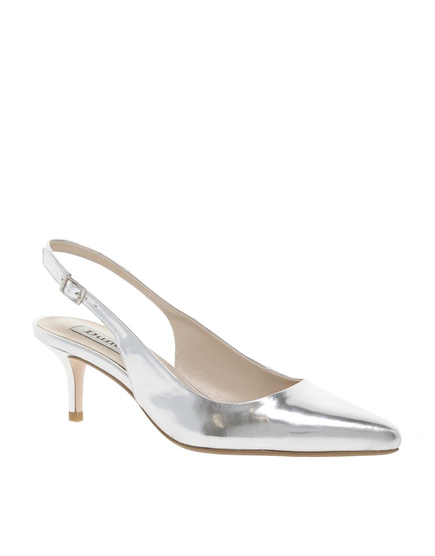 Silver Pumps Mid Heel