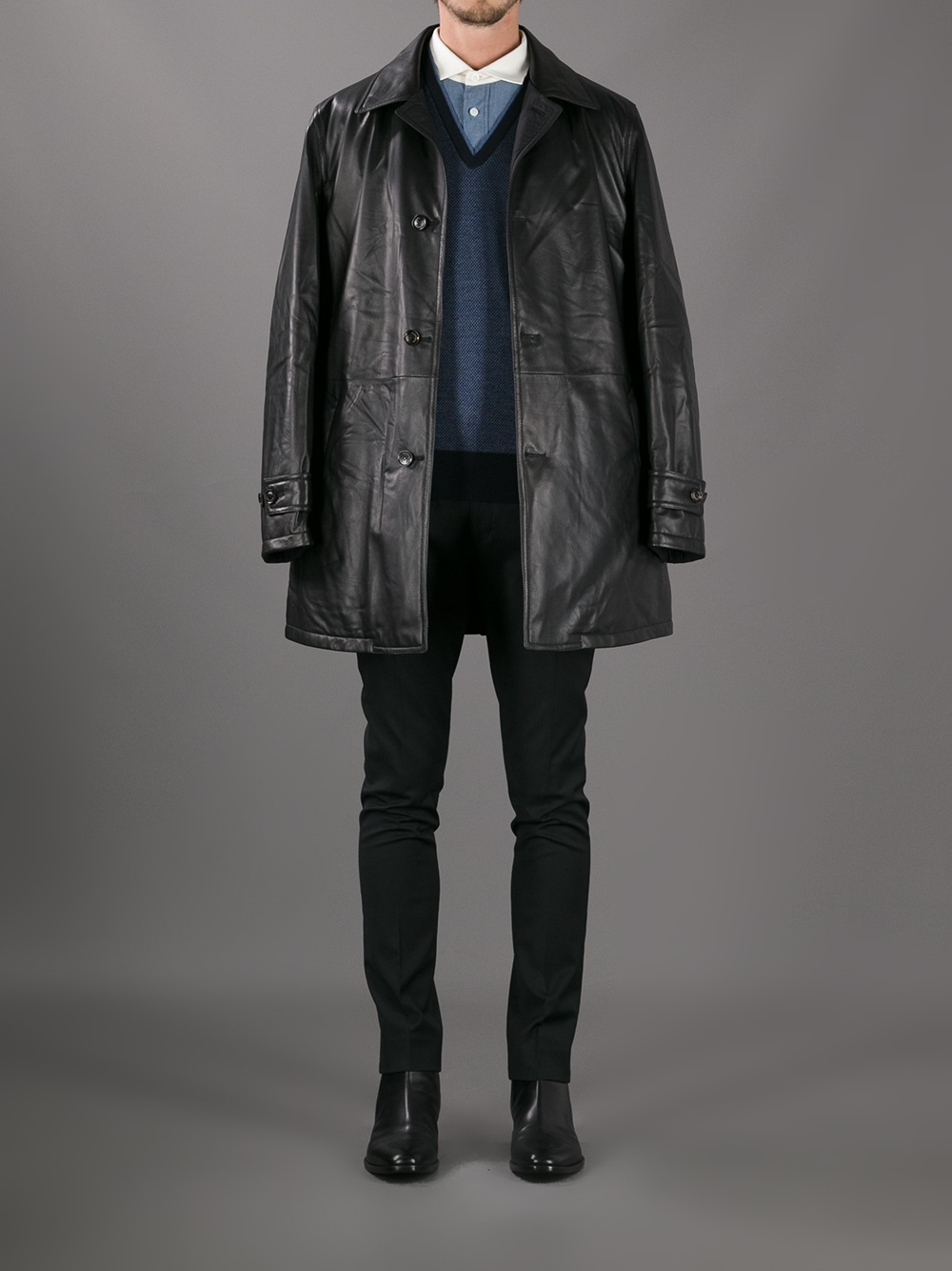 8544cb7b Ermenegildo Zegna Black Classic Leather Jacket for men