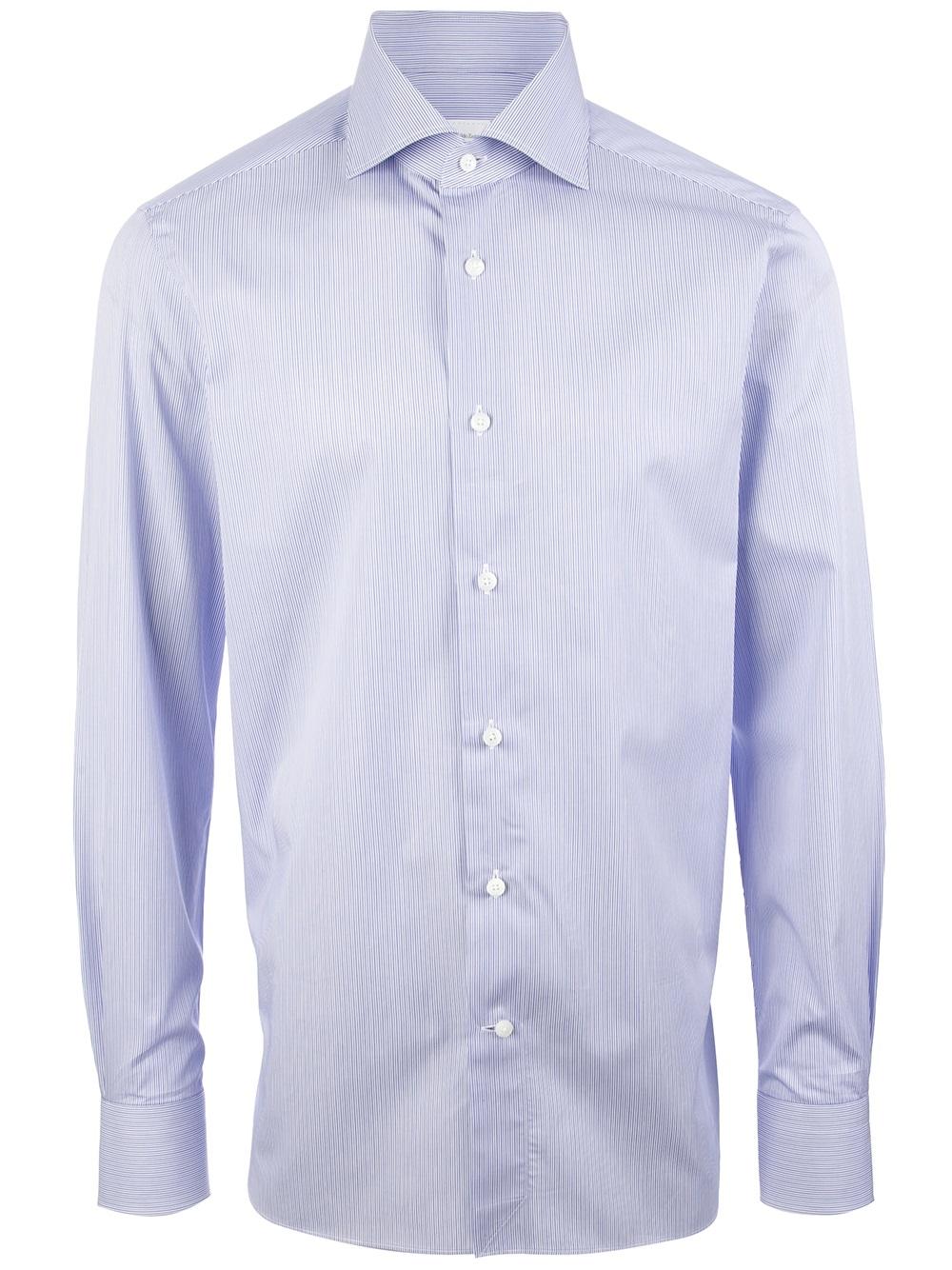 ermenegildo zegna fine striped shirt in blue for men lyst. Black Bedroom Furniture Sets. Home Design Ideas