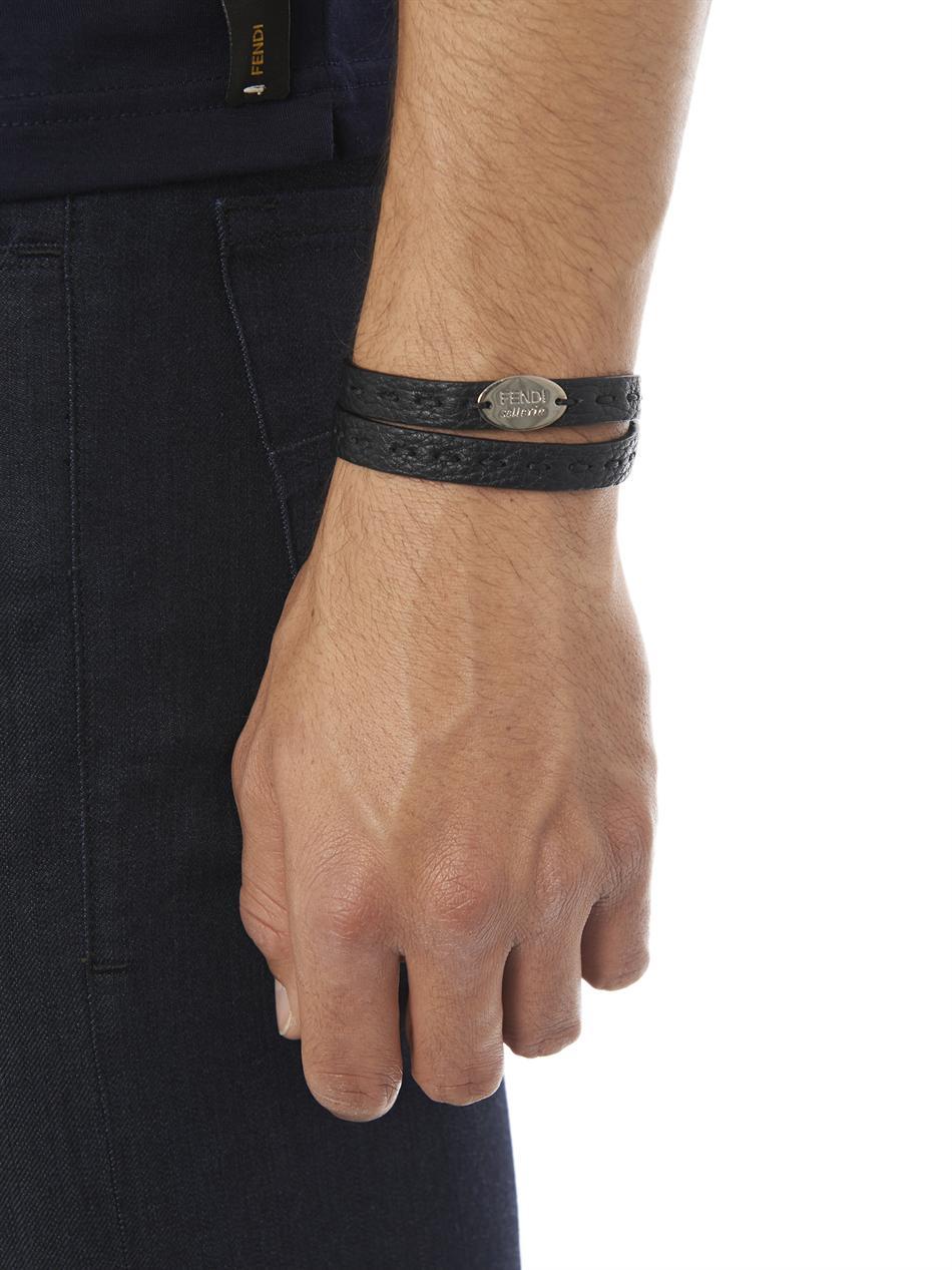 Fendi Leather Wrap Around Bracelet In Black For Men Lyst