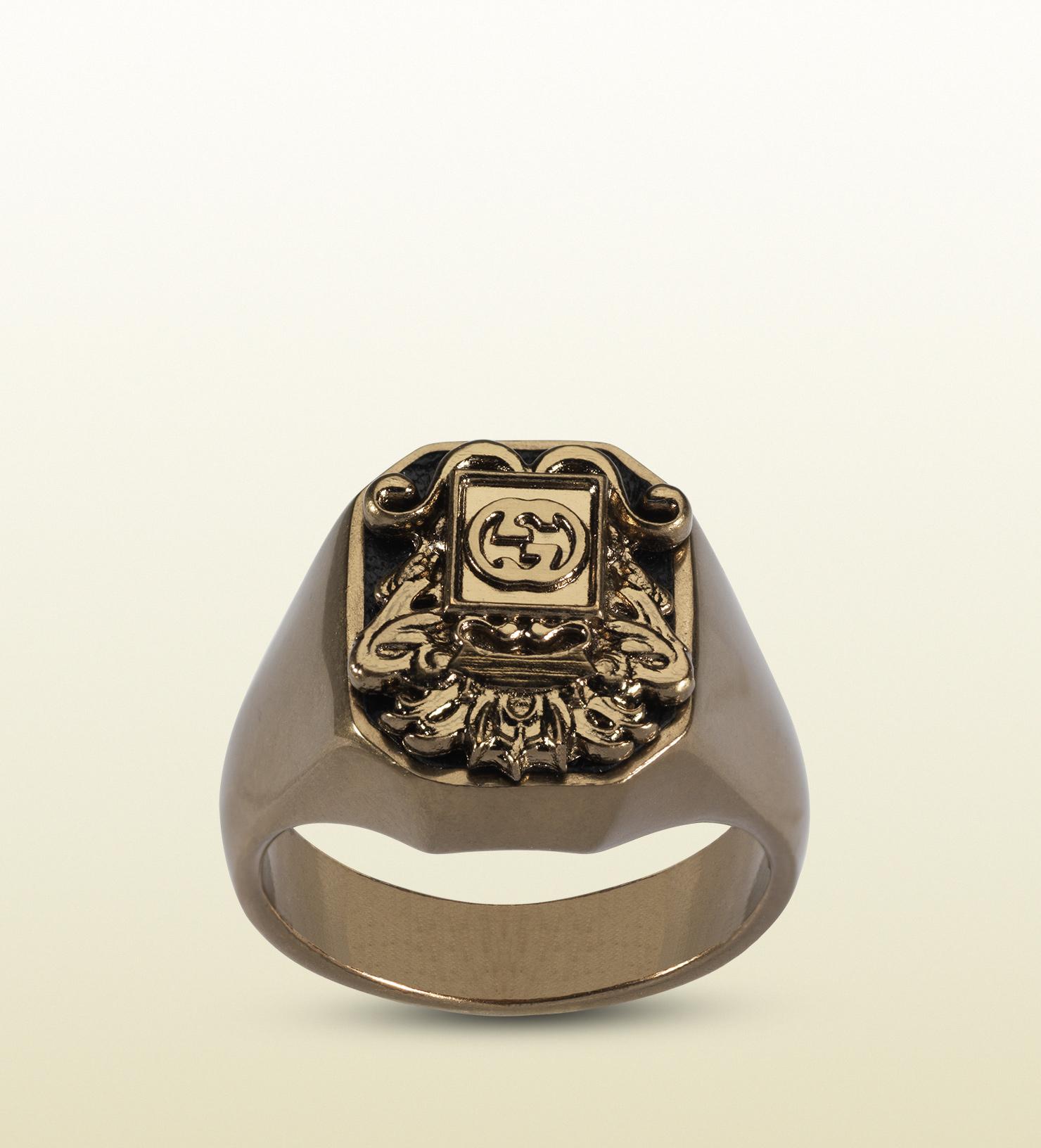 Lyst Gucci Vintage Crest Ring in Metallic for Men