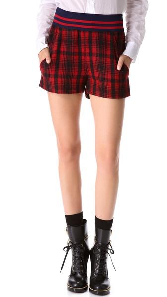 Harvey faircloth High Waisted Plaid Shorts in Black | Lyst