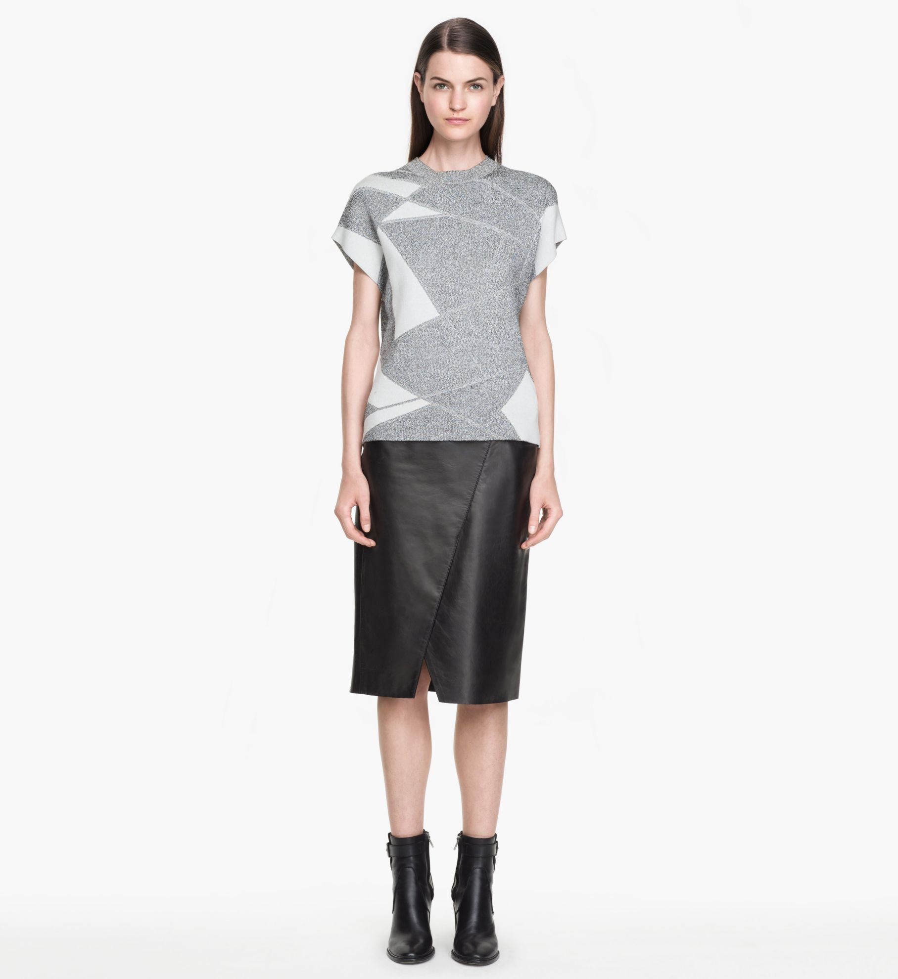helmut lang ink leather skirt in black lyst