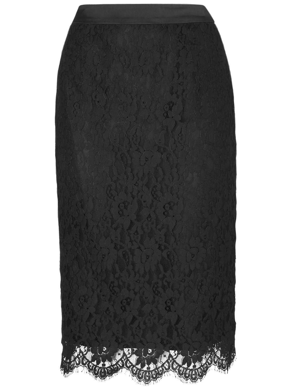 jaeger lace pencil skirt in black lyst
