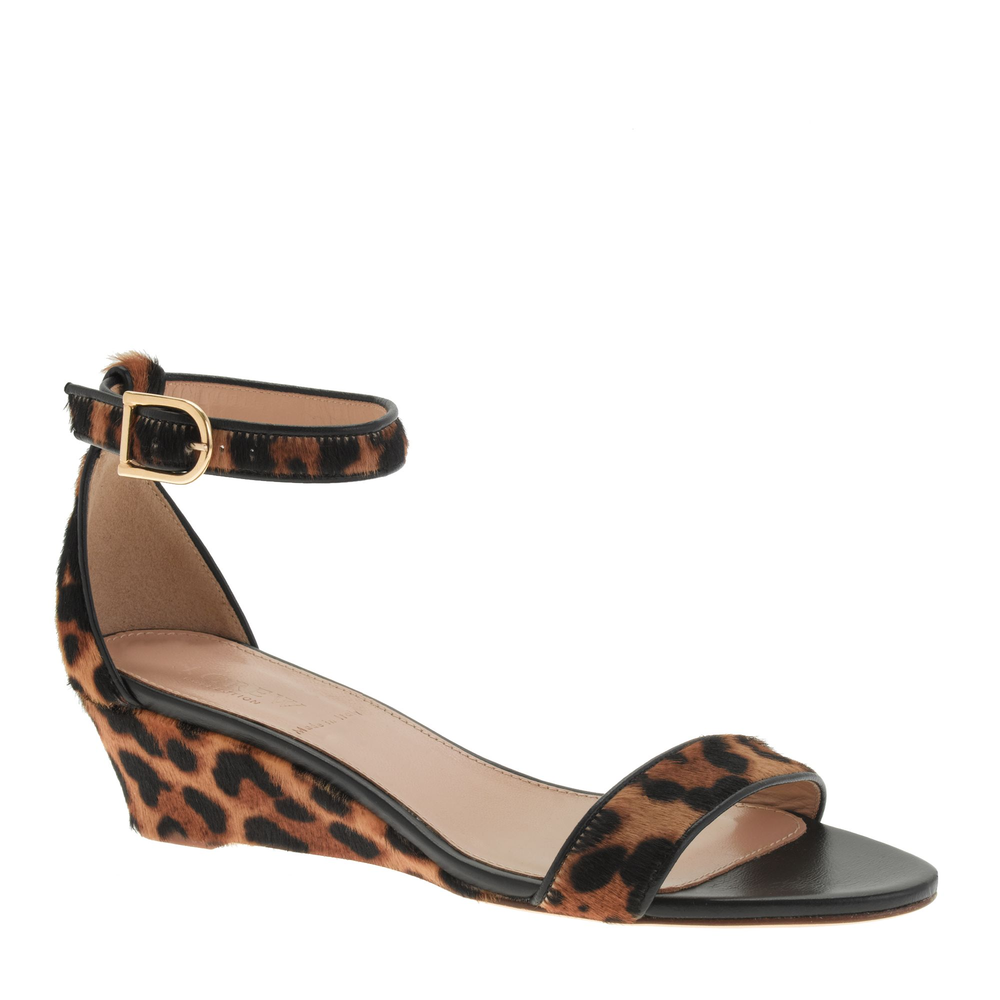 Lyst J Crew Collection Lillian Calf Hair Low Wedges In Brown
