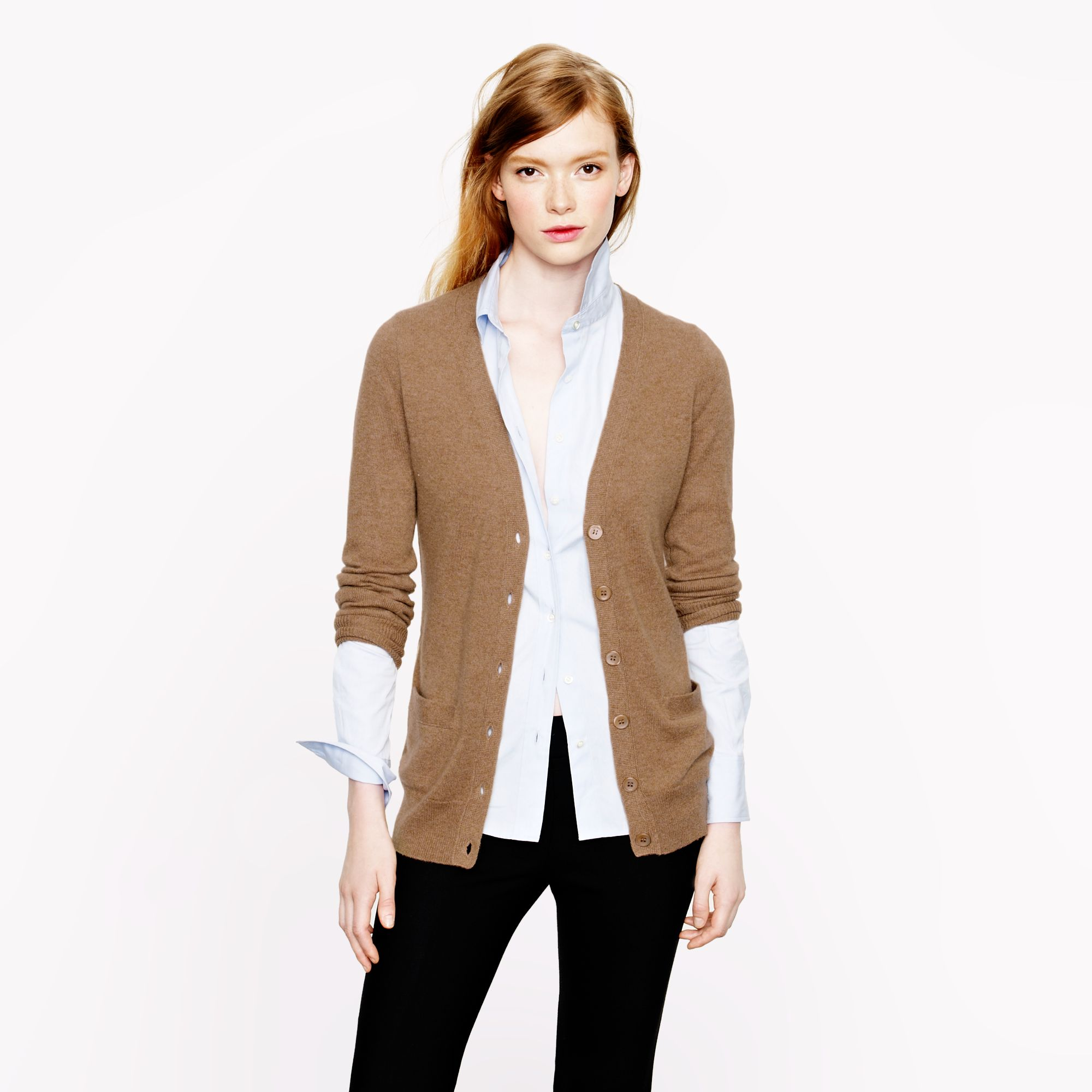 J.crew Collection Cashmere Boyfriend Cardigan Sweater in Brown | Lyst
