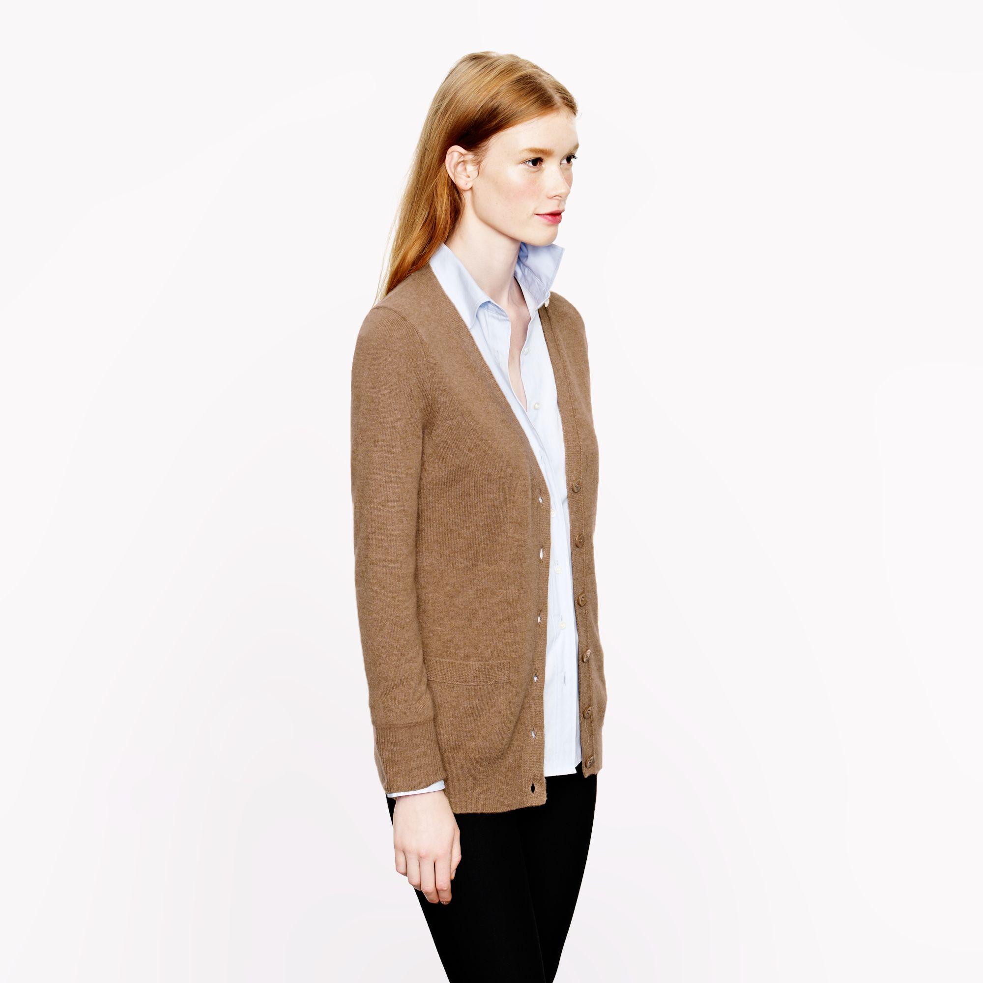 J.crew Collection Cashmere Boyfriend Cardigan Sweater in Brown | Lyst