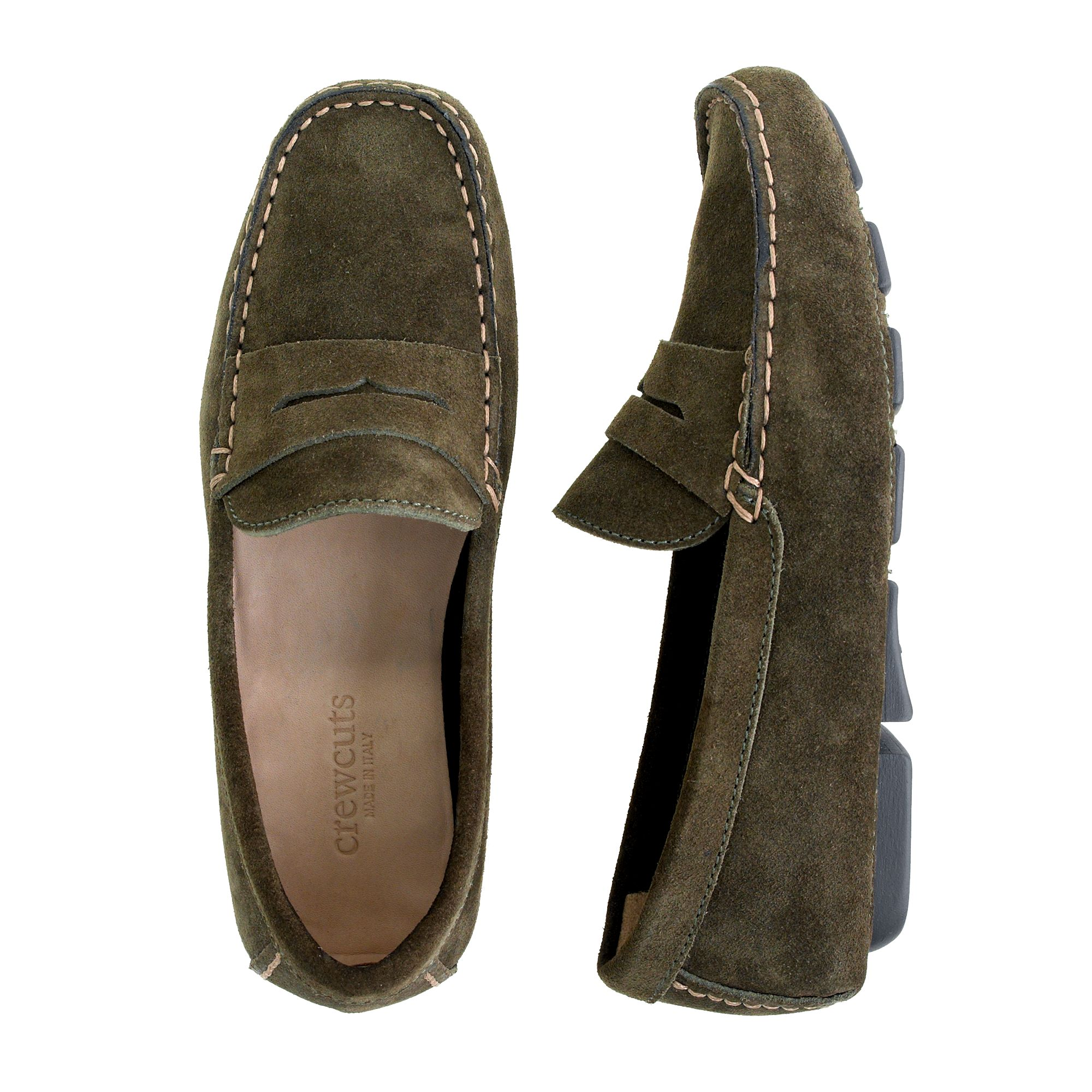 J.Crew Kids Suede Penny Loafers in Green for Men - Lyst