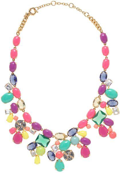 j crew color mix statement necklace in multicolor multi