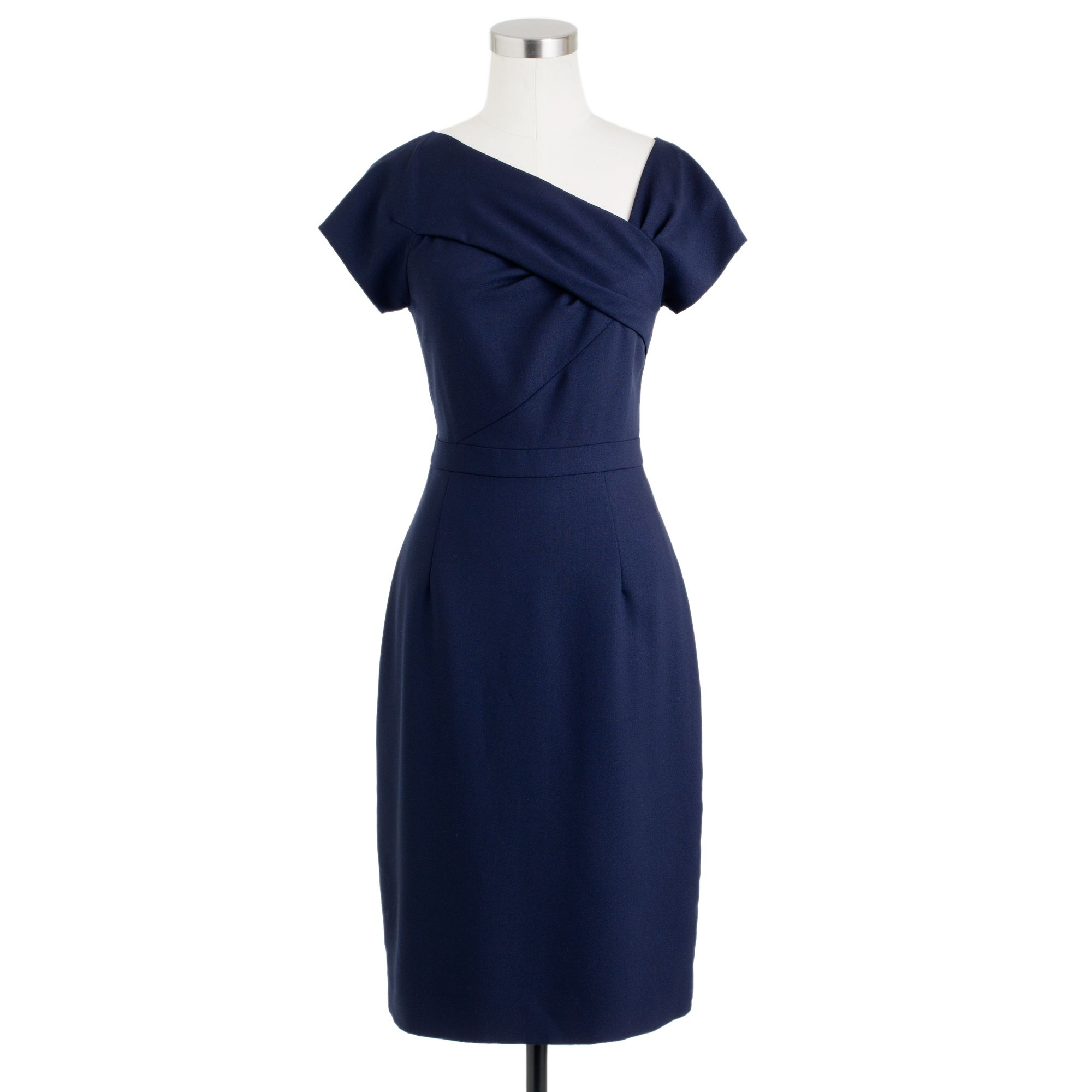 Origami dress in wool crepe in blue navy lyst for Jcrew com