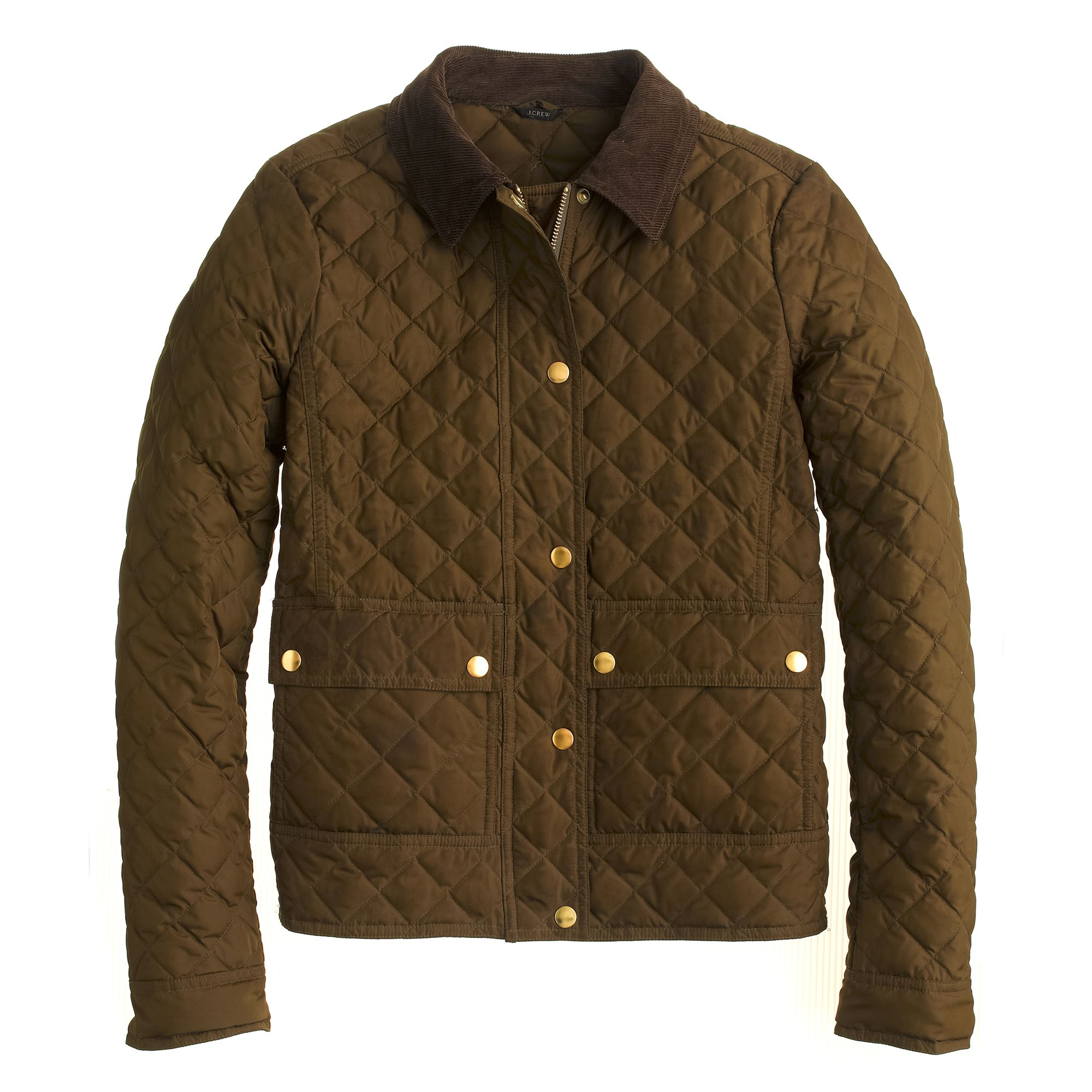 J Crew Tall Quilted Tack Jacket In Olive Moss Green Lyst