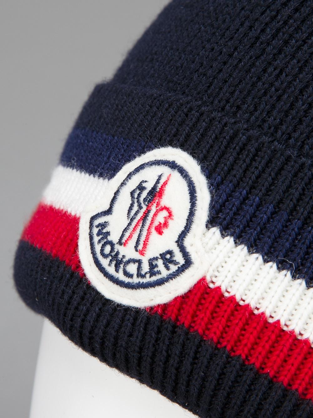 8b1b7a42a074 Lyst - Moncler Logo Beanie Hat in Blue for Men