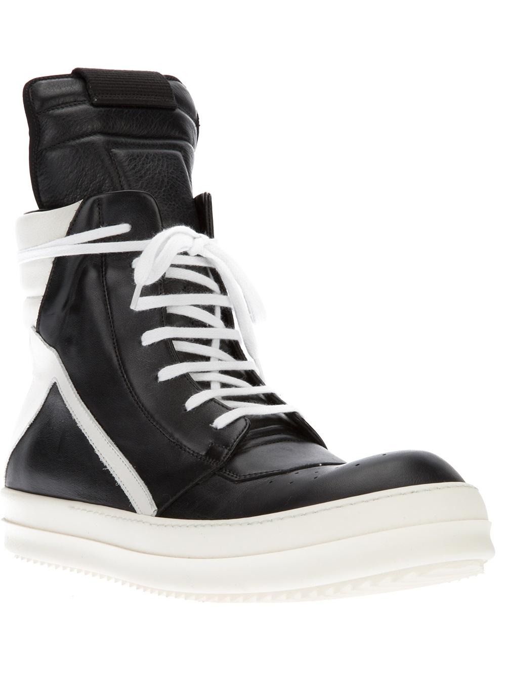 lyst rick owens geobasket hitop sneaker for men. Black Bedroom Furniture Sets. Home Design Ideas