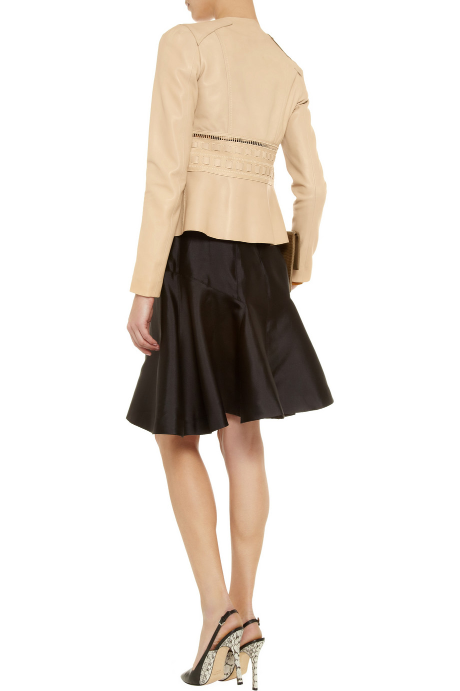 Valentino Bow Embellished Leather Jacket In Natural Lyst