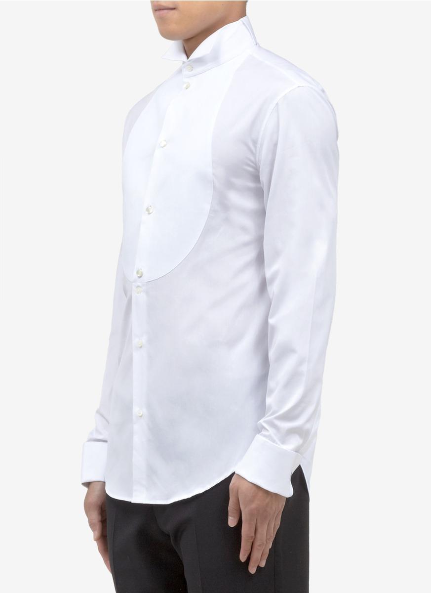 Lyst armani cotton tuxedo shirt in white for men for Tuxedo shirts for men