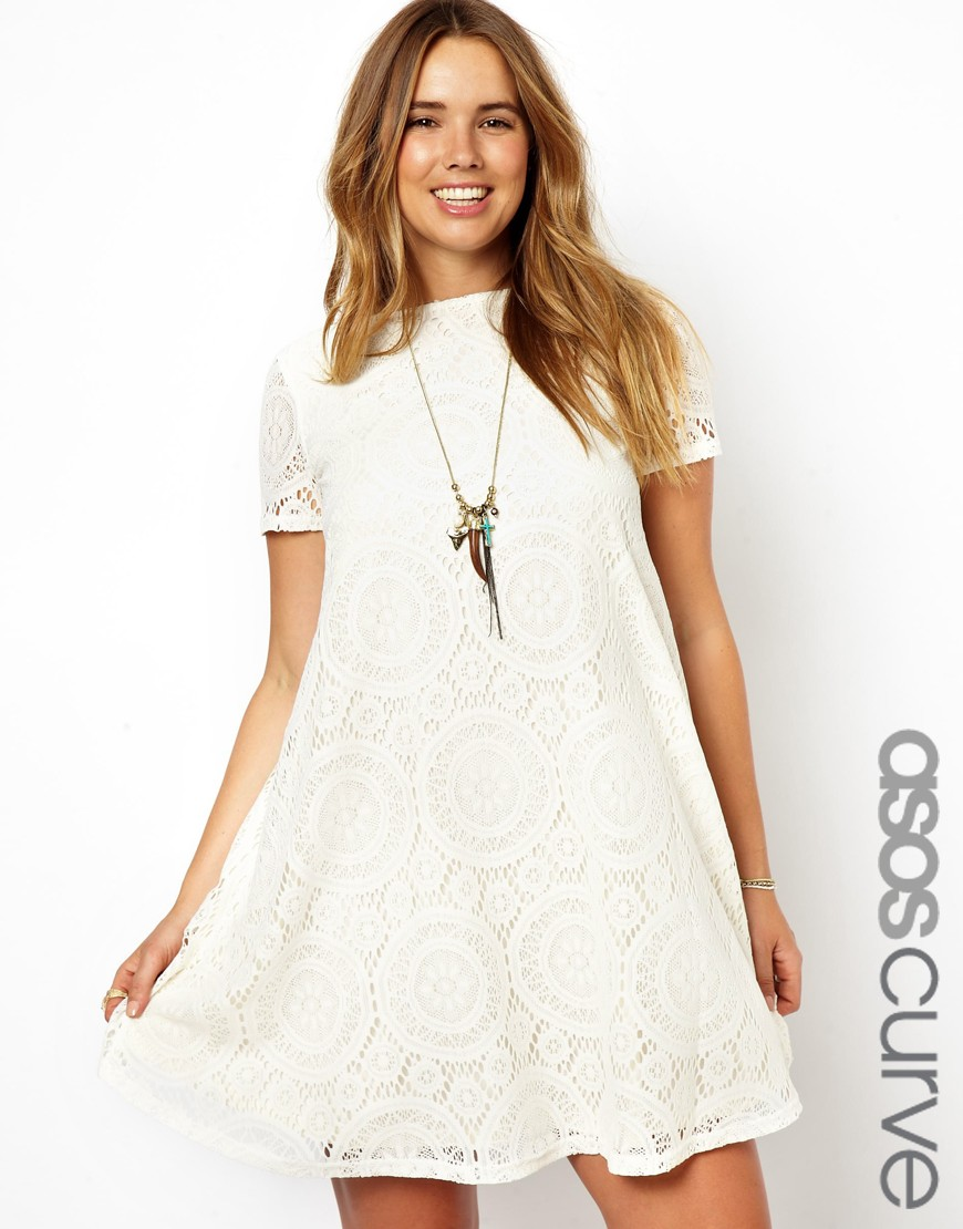 20b16edaea15 Lyst - Ganni Asos Curve Swing Dress in Kaleidoscope Lace in Natural