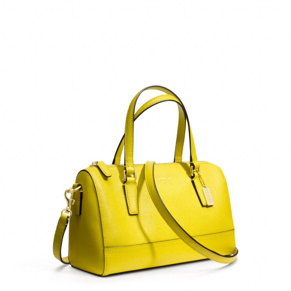 ac02a87d07 Lyst - COACH Mini Satchel In Saffiano Leather in Yellow